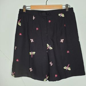 Shorts with Embroidered Bees/DragonFlies